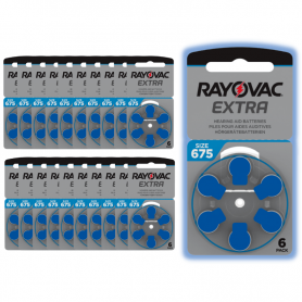 120 piles auditives Rayovac 675 (bleu)