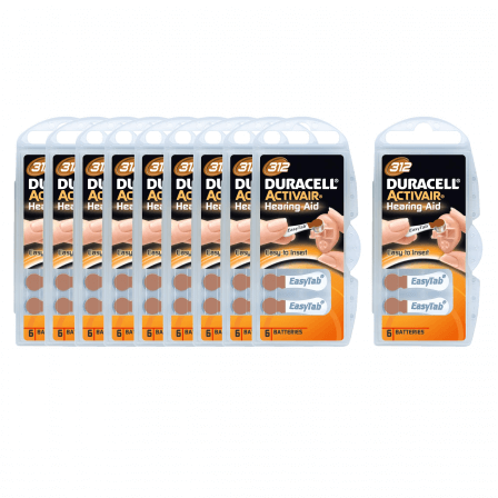 Piles Auditives Duracell 312 - lot Dix