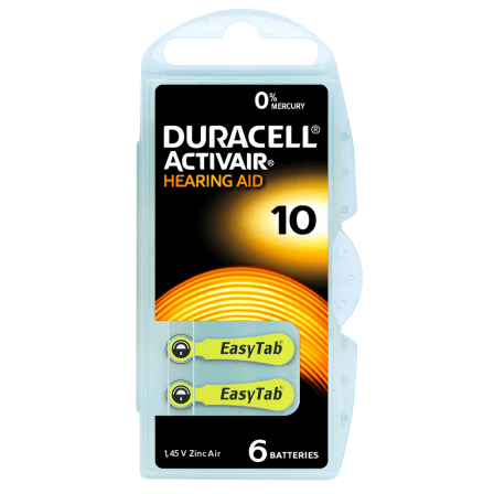 Piles auditives Duracell Activair 10