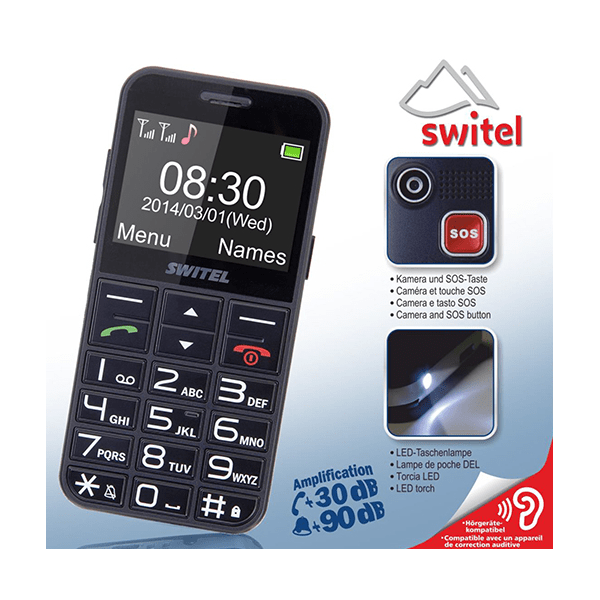 t l phone portable switel m190 ergonomique simple et amplifi 30db. Black Bedroom Furniture Sets. Home Design Ideas