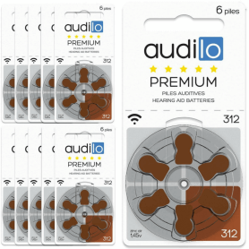 Piles Auditives Audilo Premium 312 (PR41) Lot de 10 Plaquettes (60 piles auditives)
