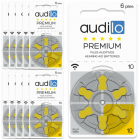 Piles Auditives Audilo Premium 10 (PR70) - Lot de 10 Plaquettes (60  piles auditives)