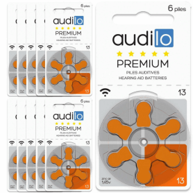 Piles Auditives Audilo Premium 13 (PR48) Lot de 10 Plaquettes (60 piles auditives)