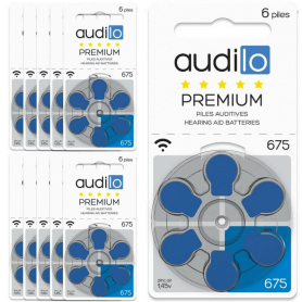Piles Auditives Audilo Premium 675 (PR44) Lot de 10 Plaquettes (Total de 60 piles)