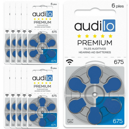Piles Auditives Audilo Premium 675 (PR44) Lot de 10 Plaquettes (Total de 60 ou 120 piles)
