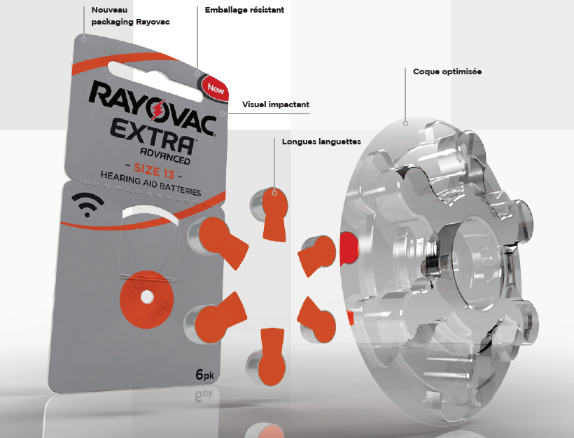 Rayovac nouveau design packaging emballage resistant visuel impactant longue languette pile auditive